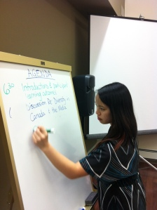 Vivian Giang writes on a whiteboard