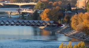 Shots of three bridges over the Bow River