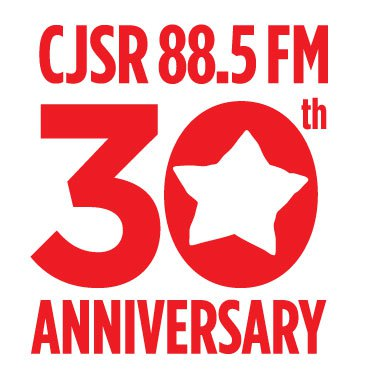 "Text: CJSR 88.5 FM 30th Anniversary. CJSR star cut out of the middle of the 0 in ""30""."