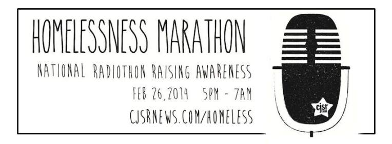 Picture indicates that the Homelessness Marathon runs February 26, 2014, from 5 PM - 7 AM.