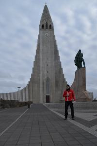 Finn in front of the inimitable Hallgrímskirkja church in Reykjavik.