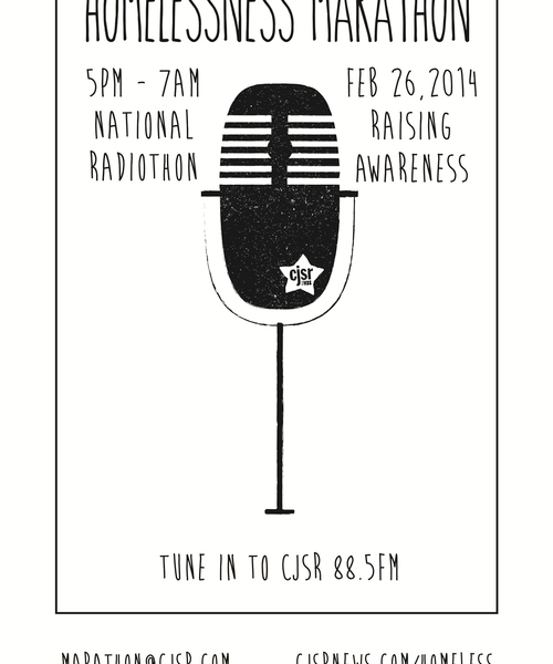 The poster for the Homelessness Marathon, with a simple illustration of a microphone at centre.